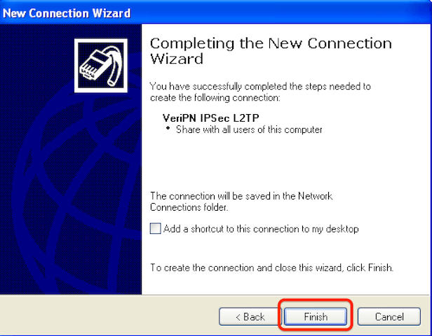 How to configure Windows XP for l2tp step 7